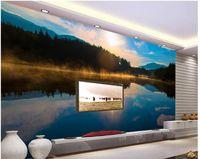 Fabric beautiful landscape photography - Luxury European Modern Popular beautiful lake dawn landscape photography TV background wall