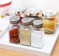 barbecue spices - Practical kitchen Herb Spice Tool square glass condiment bottle pepper shakers outdoor barbecue salt shaker
