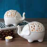 Белых слонов Цены-Белый слон свечи держателей свадьба керамический пот де vidro для продажи резной свеча стенд домашний декор candebrela
