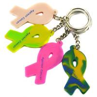 Porte-clés ruban France-Vente en gros Drop Shipping 50PCS / Lot 24 heures de lutte contre le cancer Ruban silicone 4 couleurs, Livraison gratuite