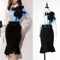 Wholesale Vintage flower shirt skirt set asymmetric black skirt mermaid long sleeve shirt two piece dress crop top