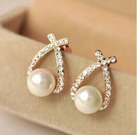 Wholesale Nice shopping Fashion Gold Crystal Stud Earrings Brincos Perle Pendientes Bou Pearl Earrings For Woman POW25