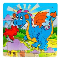 Wholesale 16 Piece Puzzles For Children Kids Wooden Jigsaw Education And Learning Puzzles Toys Animal Dolphin Cat Elephant Cartoon H34