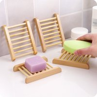 Wholesale Natural Wood Soap Dishes Wooden Soap Tray Holder Storage Soap Rack Plate Box Container for Bath Shower Plate Bathroom