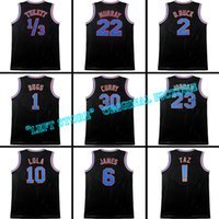 Wholesale 100 Stitched Movie Space Jam Tune Squad Jersey Men Michael Curry James Jersey Black white Embroidery shirt