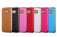 aluminum grids - For IPhone Samsung Metal Case In Style Fashion Grid Skins Aluminum Frame Leather Cover Case For iPhone S Plus Galaxy S6 S6 edge