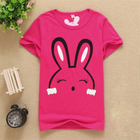 Wholesale 2017 New Clothes Children baby Boys Girls Print the rabbit pattern T Shirts Kids Baby Clothing Boys Girls Short Sleeve Tops