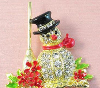 Wholesale Christmas Snowman Brooch Hot Selling Cute Rhinestone Crystal Gold Plated Snowman Brooches For Xmas Gift