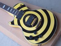 achat en gros de guitares zakk wylde-Gaucher Custom Shop Zakk Wylde bullseye Crème Noir EMG Pick-up Guitare électrique Or Matériel Or Nom Plaqué