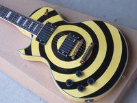 al por mayor guitarras de zakk wylde-Zurdo Tienda personalizada Zakk Wylde bullseye Crema Negro EMG Pickup Guitarra Eléctrica Gold Hardware Gold Nombre Plated
