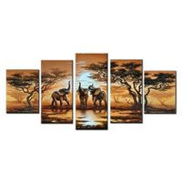 artwork bedroom - 5 Panels Sunset Africa Elephant Landscape Oil Paintings On Canvas Stretched Framed Hand Painted Artwork for Living Room Bedroom Office Wall