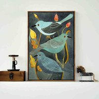 Oil Painting squared picture frame - Birds canvas painting on Curly Branches Print on Canvas for Modern Home Decor Kids Room Decoration Hotel Picture