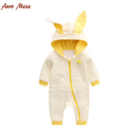 baby onesie lot new - New Lovely Spring Rabbit Ear Toddler Romper Cotton Yellow Dot Cat Pattern Cotton Baby Onesie Costume