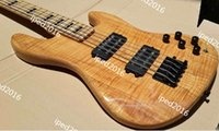 Wholesale flame maple string electric bass guitar wood is ashwood body top is with flame maple skin