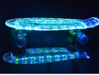 Wholesale PC transparent plastic single warp four wheel skateboard panel with flashing light fish board