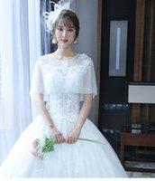 Wholesale 2016 autumn winter new wedding dress Korean thin sleeve lace shoulder wedding bride simple word