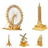 Wholesale DIY Metal D Puzzle The Famous Modern Architectural Model Building Puzzle D Models Educational Learning Toys Kids Toys