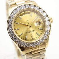 Wholesale 2017 Top fashion Luxury mens watch AAA Big diamond Gold face full Stainless steel original strap Automatic movement mens Watches