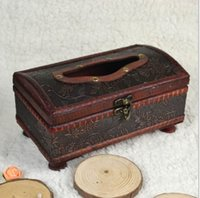 Wholesale Archaize hand made old wooden tissue boxes Vehicle smoke box Restore ancient ways household hotel bar paper tissue box Supplies automotive i