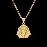 hip hop ancient egypt fashion - Fashion Gold Plated Ancient Egypt King Tut Pharaoh Pendant Necklace Cuban Chain Stainless Steel Men s Hip Hop Bling Jewelry