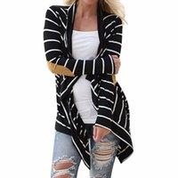 Grossiste - Lisli rayé coude patching en cuir à manches longues Cardigan tricoté automne Slim 2016 femmes automne chandail noir et blanc 01B0497
