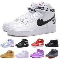 air skate shoes - With Box Cheap New AF1 Full Red Skateboarding Shoes Genuine Leather Red AF1 Low Top Sport Supreme air Skate Shoes US
