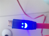 Wholesale A quality micro usb cable with flash LED light color charger cable V8 cable for xiaomi LG samsung data cable