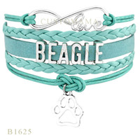occident beagles dogs - Custom Infinity Love Beagle Or Bengal Dog Paw Charm Wrap Bracelets Christmas Gift Bracelets For Women Pink Black Blue Leather Bracelets