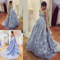 A-Line big arabic - Dusty Blue Sweetheart Prom Dresses Sexy Bodice Exposed Boning Lace Appliques Evening Gowns With Big Bow Backless Sweep Train Arabic Dress