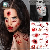 Wholesale SC Funny Temporary Tattoo New Waterproof Fake Horror Wound Realistic Blood Injury Scar Halloween Tattoo Sticker