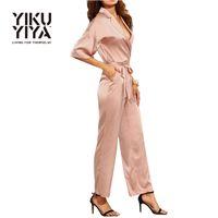 Wholesale YIKUYIYA Belt Tailored Solid Bodysuit V neck Long Sleeve Slim Jumpsuits Casual Elegant Loose Playsuits Women Clothes
