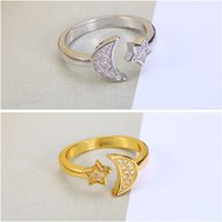 Wholesale Star Moon Rings Women and Girl With Jewelry Hot Sale Crystal AAA CZ Opening Couple Engagement Rings K Gold plated Silver