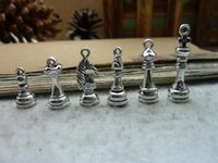 antique chess - Antique Silver Chess Charm Pendant Jewelry Findings
