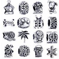 Gatos de perlas España-Los granos grandes del agujero del metal de la venta al por mayor del metal rebordean los granos europeos aptos de la aleación del cinc de los encantos DIY de la pata para la fabricación de la joyería