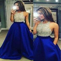 Wholesale 2017 Luxury Prom Dresses Jewel A Line Beads Evening Dresses Back Zipper Custom Made Pockets Floor Length Guest Dresses With Free Necklace