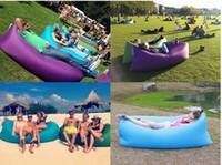 Barato Fabric sofa-Fast Air inflável saco de dormir 20pcs Hangout Lounger Air Camping Sofa Portátil praia Nylon tecido dormir cama com bolso e âncora
