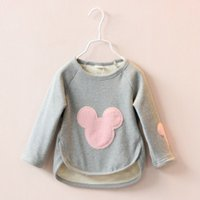 Wholesale Children Baby Girls Cartoon Mickey T shirts Winter Cotton National Long Sleeve Hot Sell Round Neck AA SO