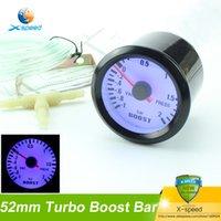 Wholesale quot mm Mechanical Car Turbo Boost Gauge Bar Black Turbo Meter Blue Color LED Auto Gauge tachometer auto gauge