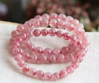 Wholesale Crazylucky Natural strawberry crystal single ring bracelet Mozambique strawberry crystal bracelet multi ring multi layer sweet beauty