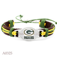 Wholesale pieces Adjustable Green Bay Leather Cuff Packers Bracelet for Men Women Bangle Casual Football Team Wristband Jewelry