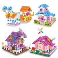 Wholesale Fairy Tale series of small particles of diamond villa block girl assembled Princess House building blocks toys children toys free ePacket