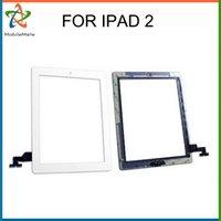 Negro blanco AAA panel frontal pantalla táctil digitizador reemplazo casa botón flex cable con adhesivo de conector IC para iPad 2