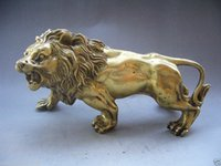 Carved antique wood statue - Elaborate Chinese Collectible decorated Chinese hand made brass Lion statue