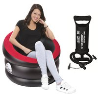 Wholesale high outdoor indoor inflatable air sofa pvc flocked lounge chair black red arm chair cm inflation pump optional