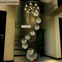 art deco steel - Newly Dia cm cm cm LED Crystal Light Spiral Staircase Lamps Hanging Chandelier Pendant Dorplight Duplex Villa Living Room Lighting