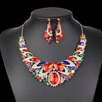 Mode Bijoux Indiens Cristal Collier Boucles D'oreilles Bridal Ensembles De Bijoux Pour Les Mariées Party Accessoires De Mariage Décoration