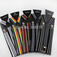 army fancy dress women - adult striped braces suspenders women Mens neon fancy dress Adjustable Y back elastic Belt Strap
