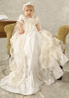 Wholesale Hot Sales White Ivory Baby Infant Christening Dress Baptism Gown Lace Applique O Neck Short Sleeves With Headband