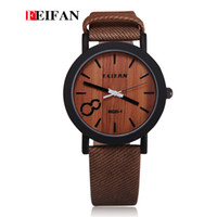 antique wood clocks - FEIFAN M020 Simulation Wooden Men Watches Wood Color Leather Strap Watch Antique Wrist watches Clock Men Wristwatch male watch