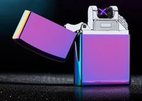 Wholesale 2017 Mini Double fire cross twin arc Double cross lighter fire ice new electric arc gold colorful charge usb lighters DHL Free